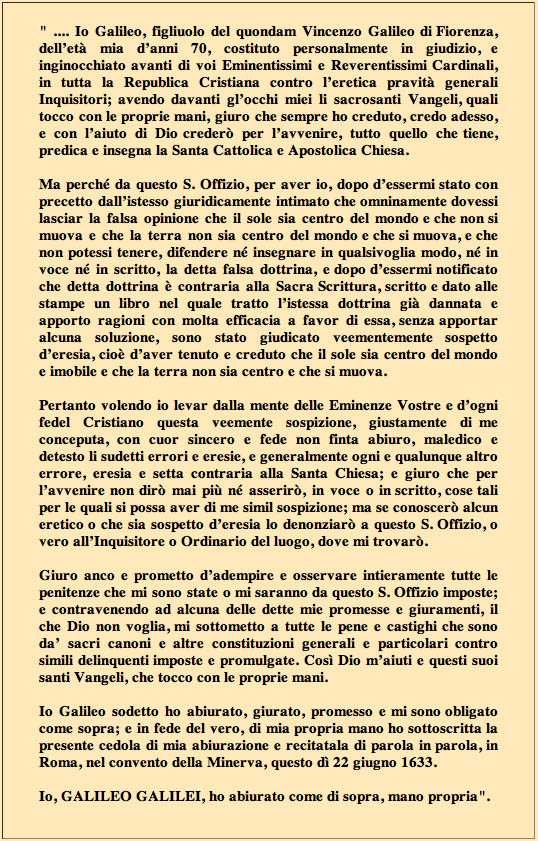 ABIURA GALILEO